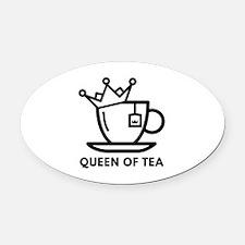Queen Of Tea Oval Car Magnet
