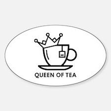 Queen Of Tea Sticker (Oval)