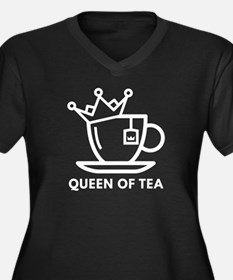 Queen Of Tea Women's Plus Size V-Neck Dark T-Shirt