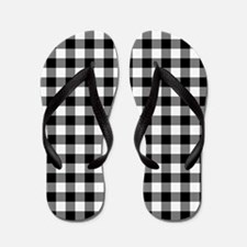 Black and White Gingham Checked Pattern Flip Flops