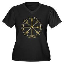 Gold Vegvisir Women's Plus Size V-Neck Dark T-Shir