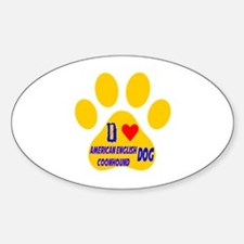 I Love American English Coonhound D Decal
