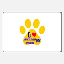 I Love American English Coonhound Dog Banner