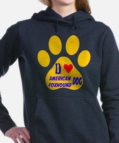 I Love American Foxhound Women's Hooded Sweatshirt