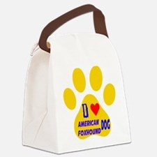 I Love American Foxhound Dog Canvas Lunch Bag