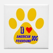I Love American Foxhound Dog Tile Coaster
