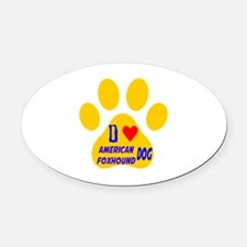 I Love American Foxhound Dog Oval Car Magnet