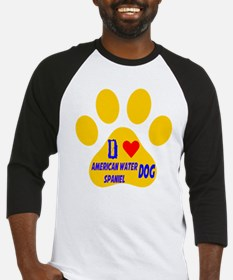 I Love American Water Spaniel Dog Baseball Jersey