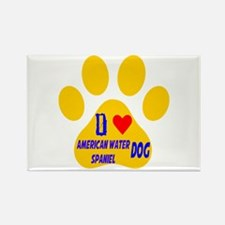 I Love American Water Spaniel Dog Rectangle Magnet