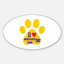 I Love American Water Spaniel Dog Sticker (Oval)