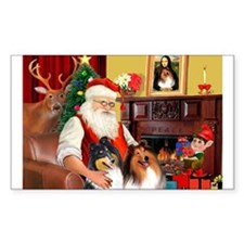 Santa's Collie pair Rectangle Decal