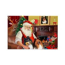 Santa's Collie pair Rectangle Magnet
