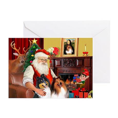 Santa's Collie pair Greeting Cards (Pk of 10)