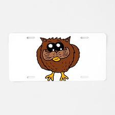 Mustache Owl Aluminum License Plate
