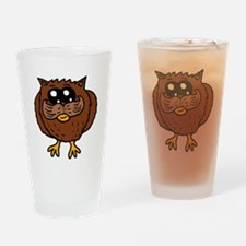 Mustache Owl Drinking Glass
