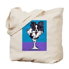 Papillon, White & Black Tote Bag
