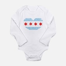Chicago Flag Heart Body Suit