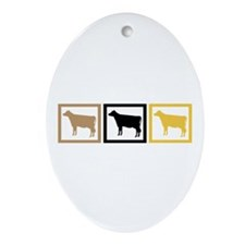 Cow Squares Ornament (Oval)