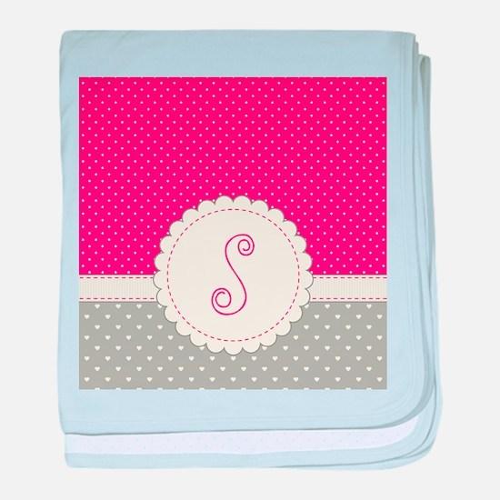 Cute Monogram Letter S baby blanket