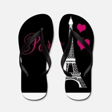 Paris Eiffel Tower in Black Flip Flops