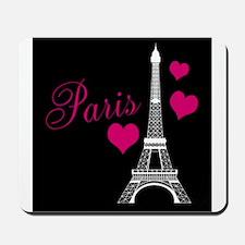 Paris Eiffel Tower in Black Mousepad