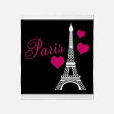 Paris Eiffel Tower in Black Throw Blanket