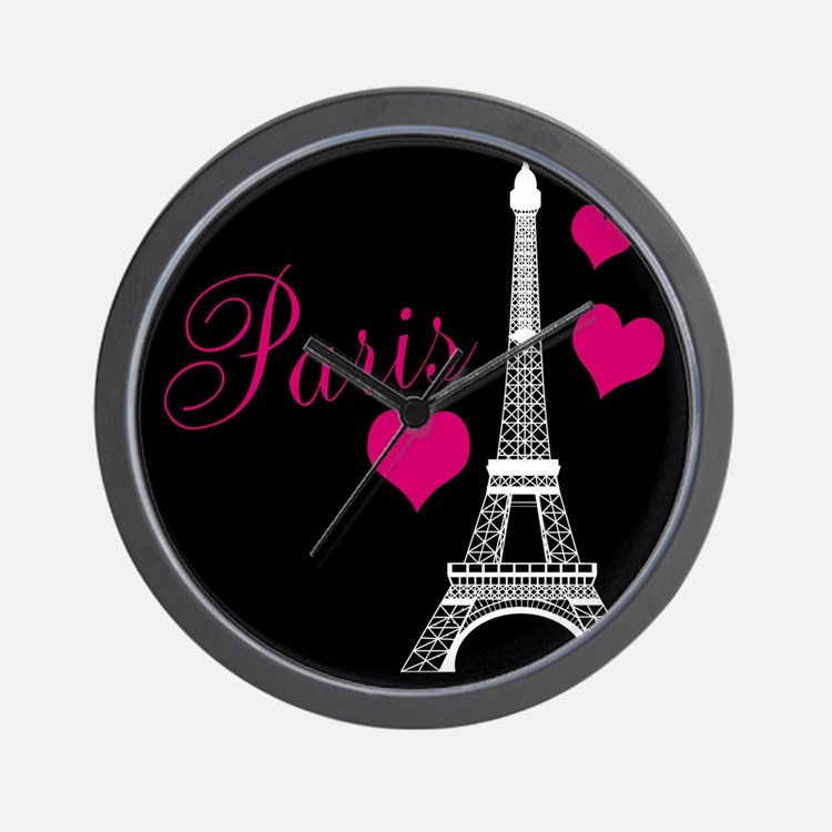 Paris Eiffel Tower in Black Wall Clock