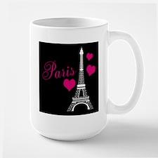 Paris Eiffel Tower in Black Mugs