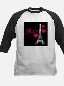Paris Eiffel Tower in Black Baseball Jersey