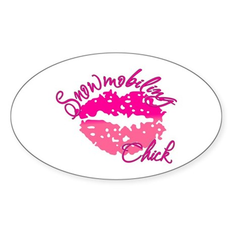 Snowmobiling Chick Sticker (Oval)