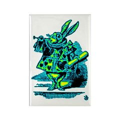 White Rabbit with Trumpet Rectangle Magnet