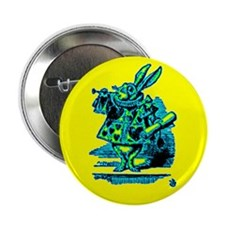 "White Rabbit with Trumpet 2.25"" Button"