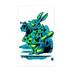 White Rabbit with Trumpet Rectangle Decal