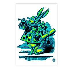White Rabbit with Trumpet Postcards (Package of 8