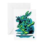White Rabbit with Trumpet Greeting Cards (Pk of 2