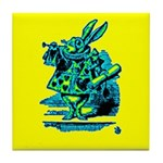 White Rabbit with Trumpet Tile Coaster