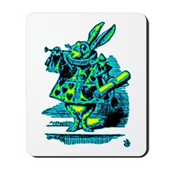White Rabbit with Trumpet Mousepad