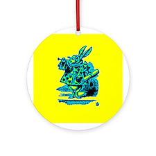 White Rabbit with Trumpet Ornament (Round)