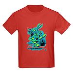 White Rabbit with Trumpet Kids Dark T-Shirt