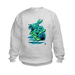 White Rabbit with Trumpet Kids Sweatshirt