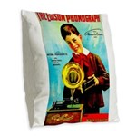The Edison Phonograph Burlap Throw Pillow