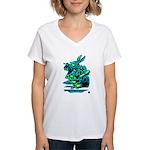 White Rabbit with Trumpet Women's V-Neck T-Shirt