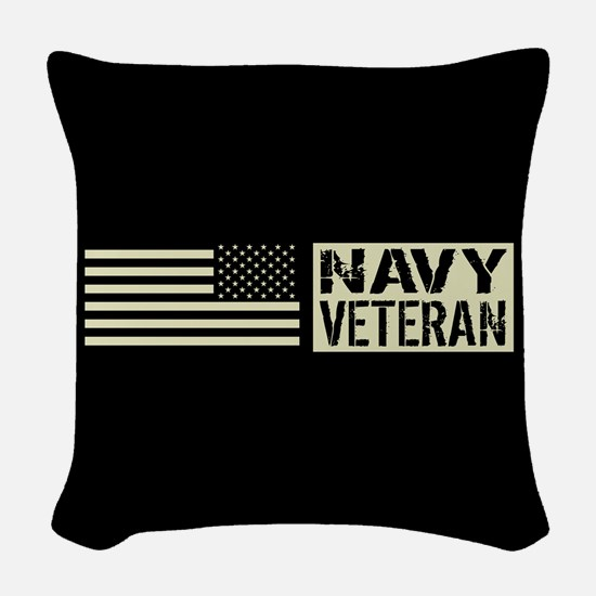 U.S. Navy: Veteran (Black Flag) Woven Throw Pillow