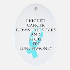 Cancer Bully (Light Blue Ribbon) Oval Ornament