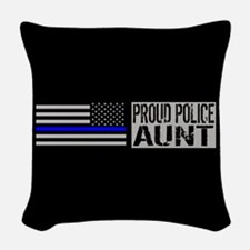 Police: Proud Aunt (Black Flag Woven Throw Pillow