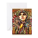 Mardi Gras Mask and Beautiful Woman Greeting Cards