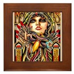 Mardi Gras Mask and Beautiful Woman Framed Tile