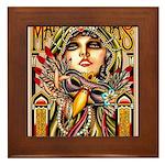 Mardi Gras Mask and Beautiful Woman Framed Tile