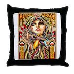 Mardi Gras Mask and Beautiful Woman Throw Pillow