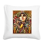 Mardi Gras Mask and Beautiful Woman Square Canvas